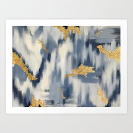 Blue and Gold Ikat Pattern Abstract Art Print