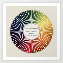 Chevreul Cercle Chromatique, 1861 Remake, vintage wash Art Print