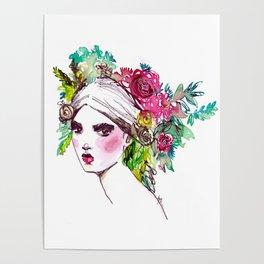 #Floral fashion portrait Poster