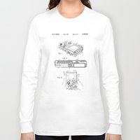gameboy Long Sleeve T-shirts featuring Gameboy Patent Drawing by Patent Drawing