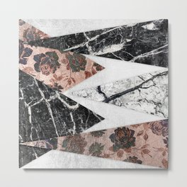 Modern Chic Black White Marble and Rose Gold Geo Metal Print
