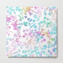Hand painted pink teal lavender watercolor floral Metal Print