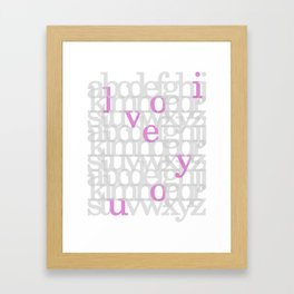 The ABC of i love you. In Pink Framed Art Print