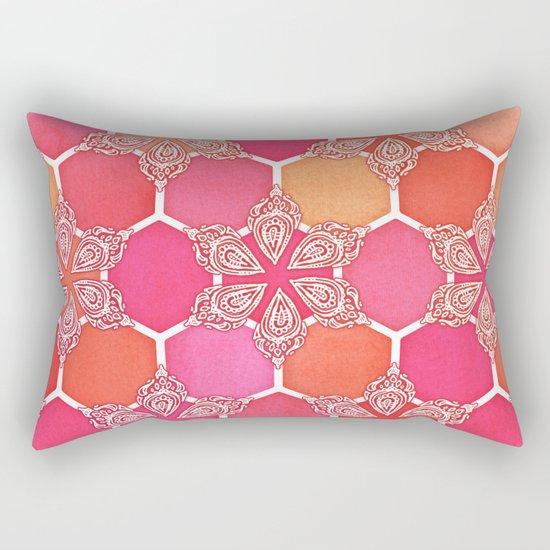 Pink Spice Honeycomb - Doodle Hexagon Pattern Rectangular Pillow