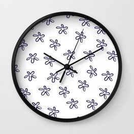 Free Flowers Abstract Pattern in Delft Blue and White Wall Clock