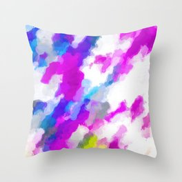 psychedelic painting texture abstract in pink purple blue yellow and white Throw Pillow