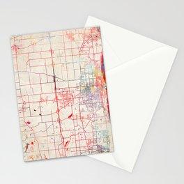 Kenosha map Wisconsin painting Stationery Cards