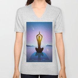 Yoga Studio Calming Purple / Blue Sukhasana Pose Unisex V-Neck