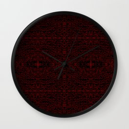 Red Swirlicues On Black Wall Clock
