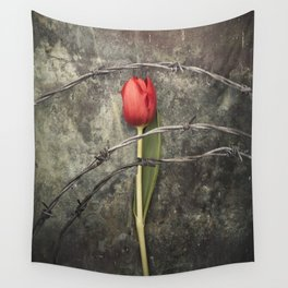 Tulip and barbed wire Wall Tapestry