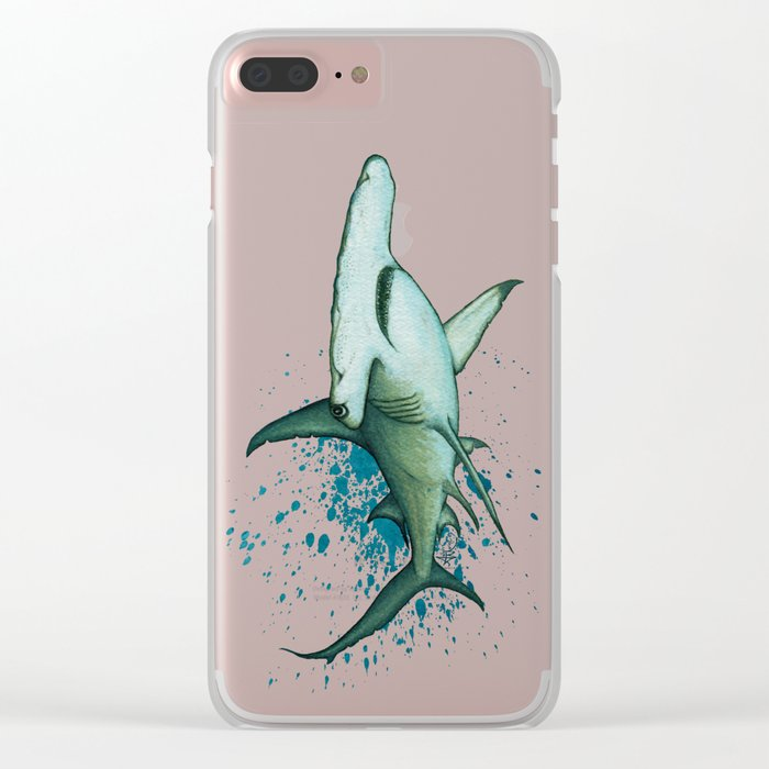 """Great Hammerhead Shark"" by Amber Marine ~ Watercolor Painting, (Copyright 2016) Clear iPhone Case"