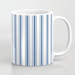 Mattress Ticking Wide Striped Pattern in Dark Blue and White Coffee Mug