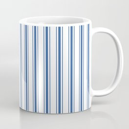 Mattress Ticking Wide Striped Pattern in Dark Blue and White Coffee Mug