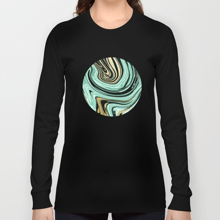 MARBELLOUS IN MINT AND GOLD Long Sleeve T-shirt