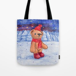 bear with sock cap Tote Bag