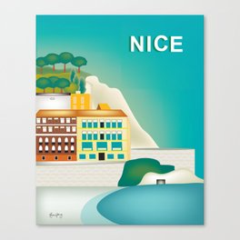 Nice, France - Skyline Illustration by Loose Petal Canvas Print