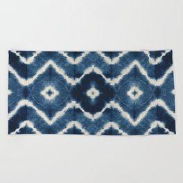 Shibori, tie dye, chevron print Beach Towel
