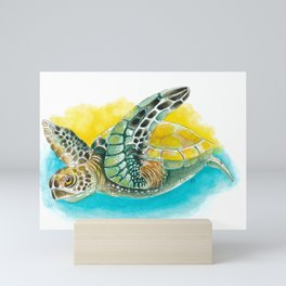 Sea Turtle Yellow Teal Watercolor Mini Art Print