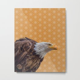 Bald Eagle, Yellow Ochre Pattern montage Metal Print