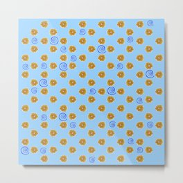 Spiral and golden flowers Metal Print