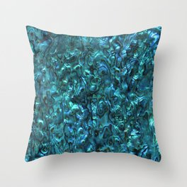 Abalone Shell | Paua Shell | Cyan Blue Tint Throw Pillow