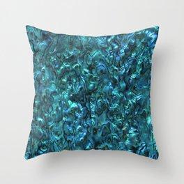 Abalone Shell | Paua Shell | Sea Shells | Patterns in Nature | Cyan Blue Tint | Throw Pillow