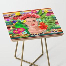 Frida Kahlo Floral Exotic Portrait Side Table