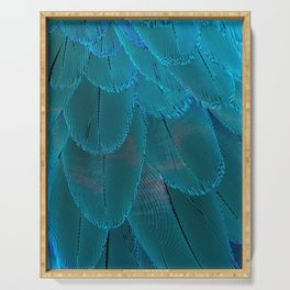 Bright Blue Feathers Abstract Pattern Serving Tray