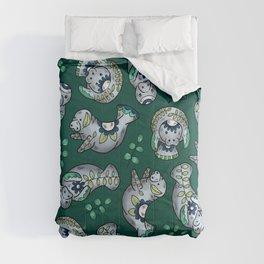Majestic Folk Art Manatees - Pattern on Green Comforters