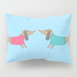 Cute dogs in love with dots in blue background Pillow Sham