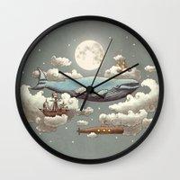 ocean Wall Clocks featuring Ocean Meets Sky (original) by Terry Fan