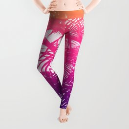 Tropical Orange Pink and Purple Palm Fronds Leggings