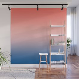 Living Coral Millennial Pink Princess Blue Ombre Pattern Trendy Colors of Year 2019 Wall Mural