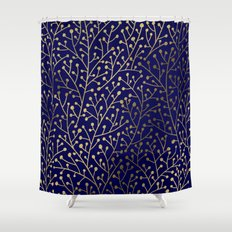 Gold Berry Branches on Navy Shower Curtain