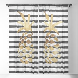 Pineapple & Stripes Sheer Curtain