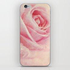Antique Rose - pastel pink & cream vintage linen textured floral iPhone & iPod Skin
