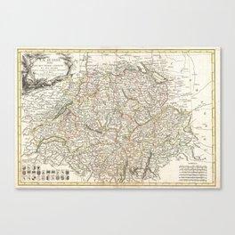 Vintage Map of Switzerland (1771) Canvas Print