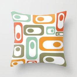 Mid-Century Modern Retro Utopia: Cheerful Minimalist Pattern in Celadon, Olive, Orange, & White Throw Pillow