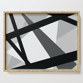 Abstract Grayscale Geometric Lines Serving Tray