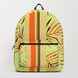 Palm Leaves orange green stripes Backpack
