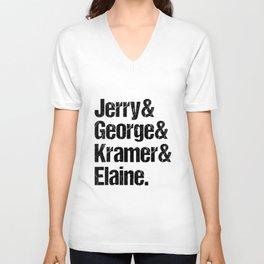 Jerry Elaine George Kramer Seinfeld Cast Unisex V-Neck