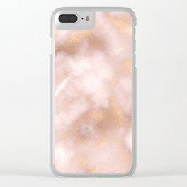 Blush pink faux gold vintage elegant marble Clear iPhone Case
