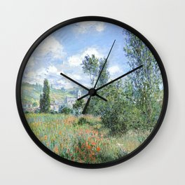 View of Vetheuil (1880) by Claude Monet high resolution famous painting Wall Clock