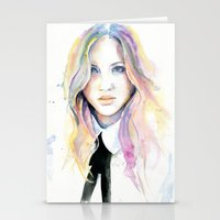 college Stationery Cards featuring College girl by Cora-Tiana