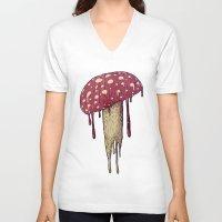 mushroom V-neck T-shirts featuring Mushroom by Lime