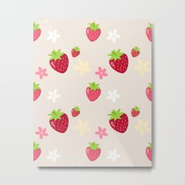 Strawberry and Flowers Illustration Metal Print