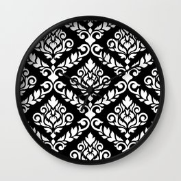 Prima Damask Pattern White on Black Wall Clock