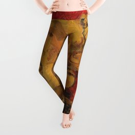 Tabby Cat Sleeping Animal Oil Painting in Vibrant Red Brown Yellow Impressionist Bright Colour Leggings