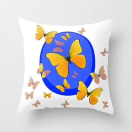 YELLOW BUTTERFLIES SWARM & BLUE RING MODERN ART Throw Pillow