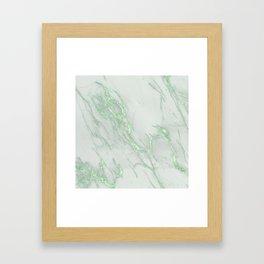 Marble Love Green Metallic Framed Art Print